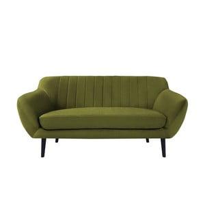 Zielona sofa dwuosobowa z czarnymi nogami Mazzini Sofas Toscane