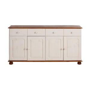 Biała szafka 4-drzwiowa z brązowym dekorem z litej sosny Støraa Ella