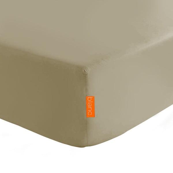 Jasnobrązowe elastyczne prześcieradło HF Living Basic, 90x200cm