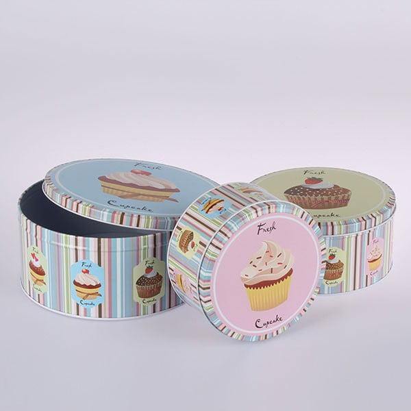 Zestaw 3 blaszanych pojemników Fresh Cupcake