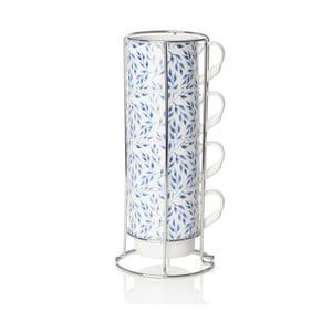 Zestaw 4 filiżanek z porcelany kostnej ze stojakiem Sabichi Beatrice, 300 ml