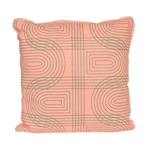 Poduszka Retro Grid Peach Pink, 45x45 cm