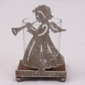 Metalowy świecznik Anioł