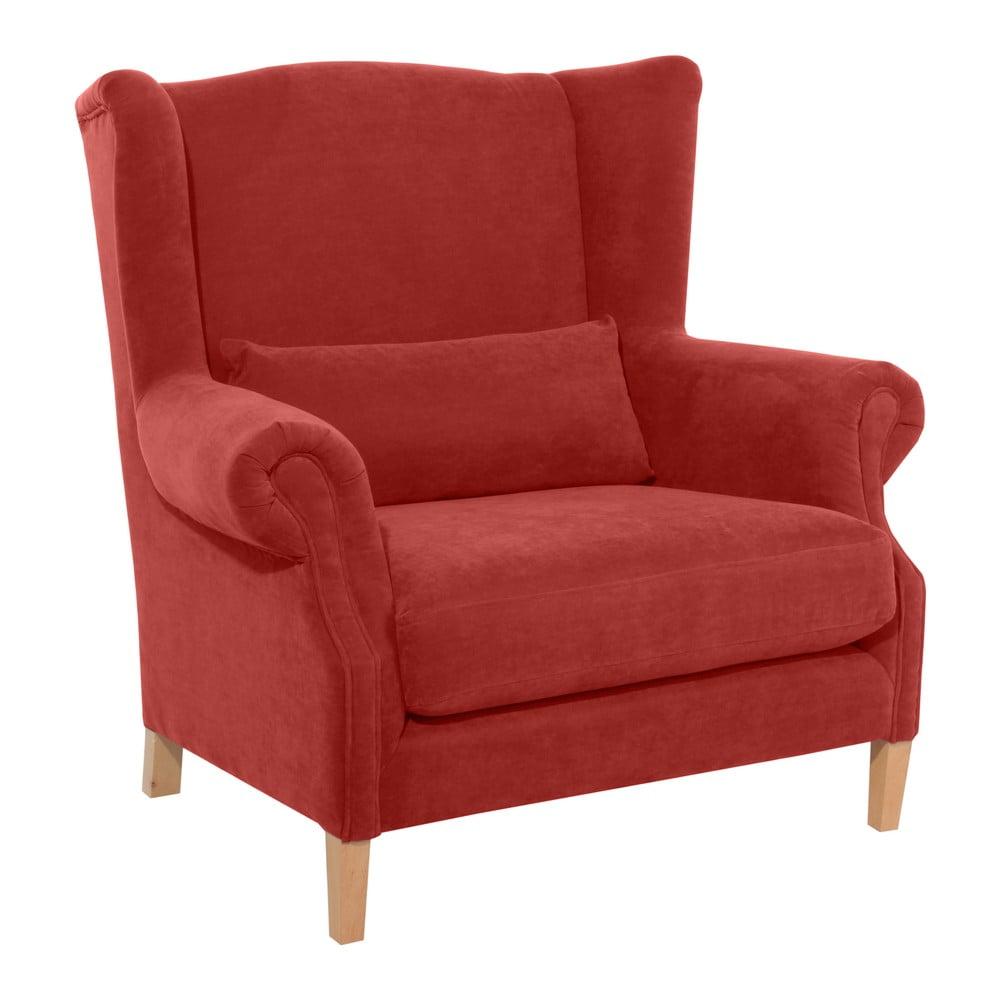 Czerwony fotel Max Winzer Harvey Velor