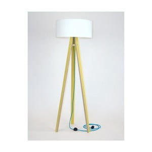 Żółta lampa stojąca z białym abażurem i turkusowym kablem Ragaba Wanda