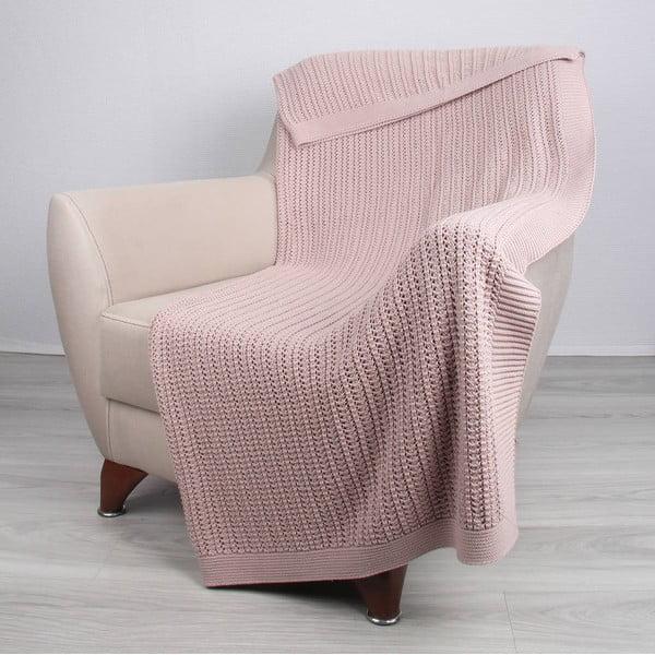 Różowy koc bawełniany Homemania Carla, 170x130 cm