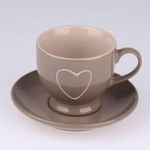 Brązowy ręcznie zdobiony kubek ceramiczny ze spodkiem Dakls Heart Dark, 0,2 l