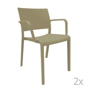 Zestaw 2 brązowych krzeseł ogrodowych z podłokietnikami Resol Fiona