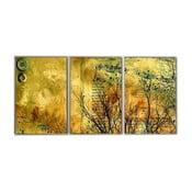 Trzyczęściowy obraz Yellow Art, 45x90 cm
