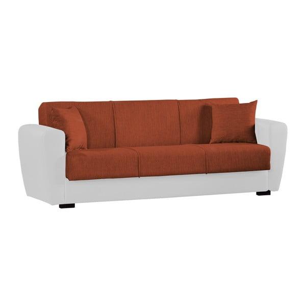 Pomarańczowo-biała trzyosobowa sofa rozkładana ze schowkiem Esidra Comfort