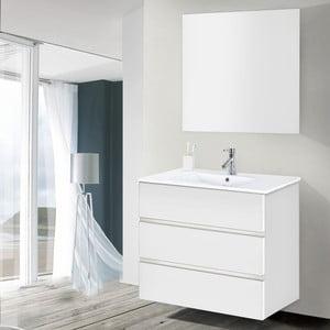 Szafka do łazienki z umywalką i lustrem Nayade, odcień bieli, 80 cm