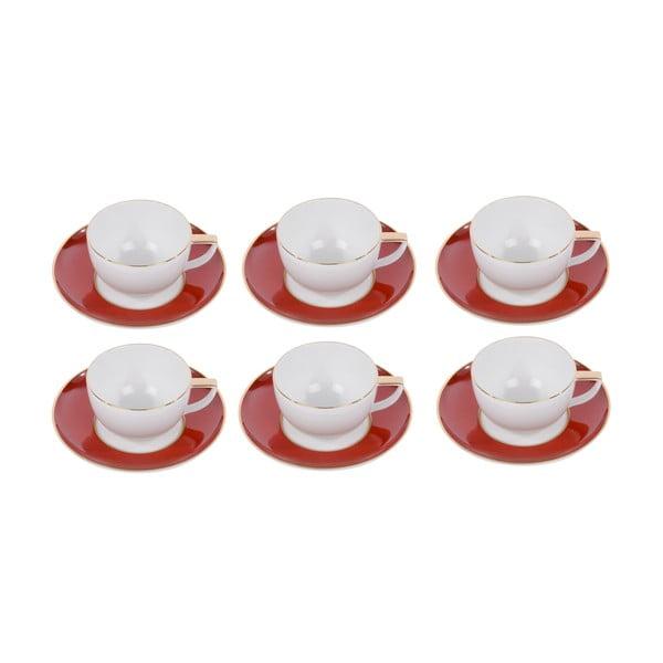 Komplet 6 filiżanek do kawy, ze spodkiem, Ramponi Ruby