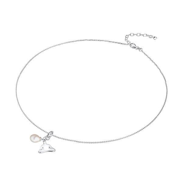 Srebrny   naszyjnik z zawieszką i perłą Chakra Pearls Lotus, 42 cm