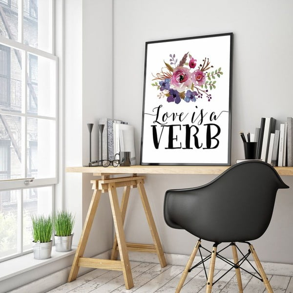 Plakat w drewnianej ramie Love is a verb, 38x28 cm