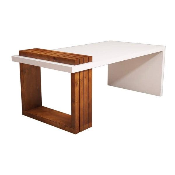 Biały stolik z detalami z dekorem drewna orzecha Muzzo Lago