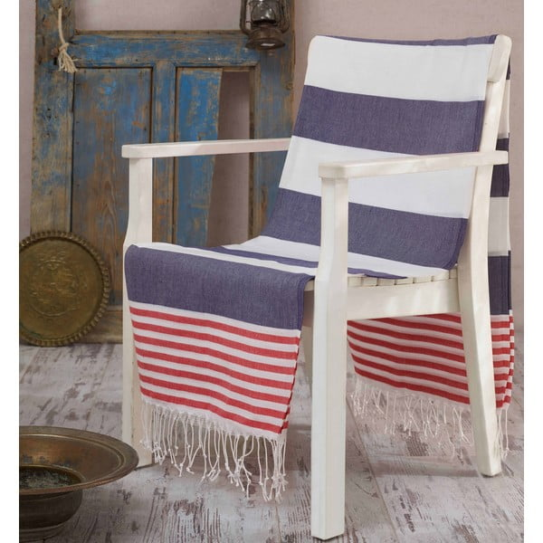 Niebiesko-czerwono-biały ręcznik Hammam Anayla, 100x180 cm