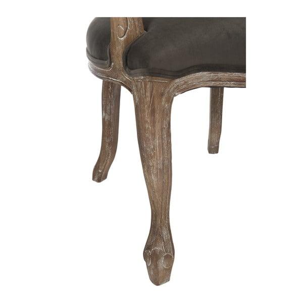 Szarobrązowe dębowe krzesło z podłokietnikami Louisa