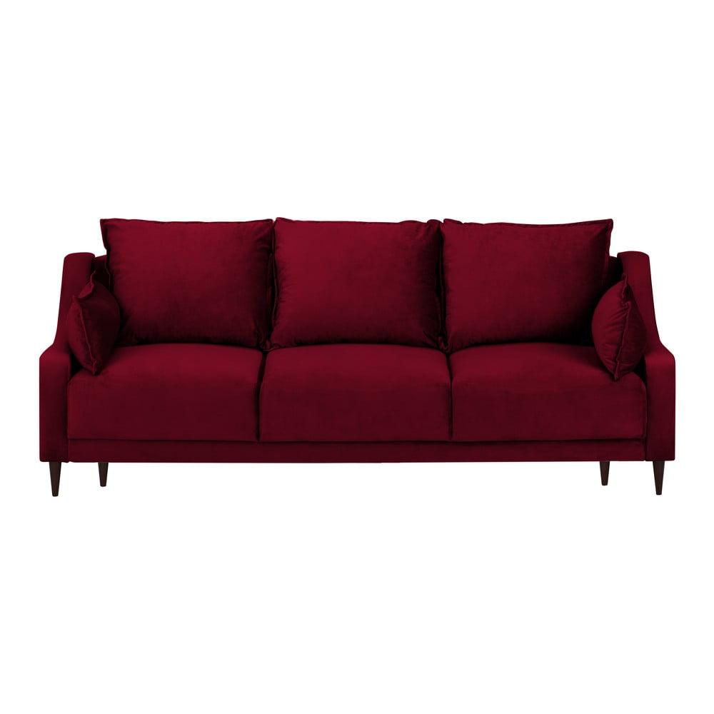 Czerwona rozkładana sofa 3-osobowa ze schowkiem Mazzini Sofas Freesia