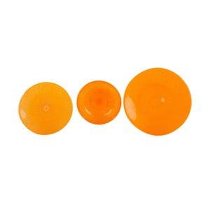 Komplet 18 szklanych talerzy Arancione
