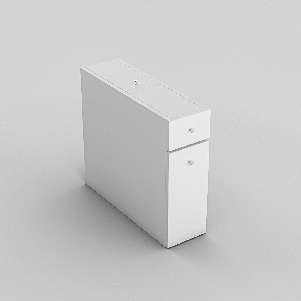 Biała szafka łazienkowa z wysuwanymi półkami Garetto Calencia White