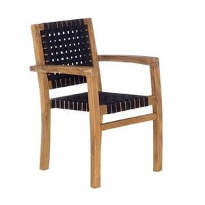 Czarne krzesło ogrodowe z drewna tekowego z recyklingu SOB Garden