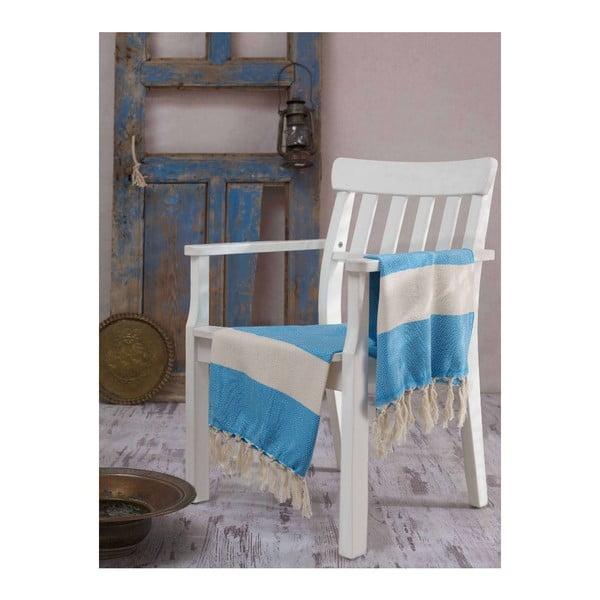 Niebieski ręcznik Hammam Baliksirti , 100x180cm
