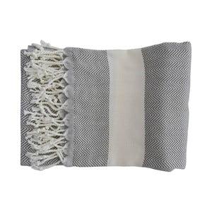 Szary ręcznie tkany ręcznik z bawełny premium Lidya,100x180 cm