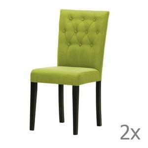 Komplet 2 krzeseł Monako Etna Green, czarne nóżki