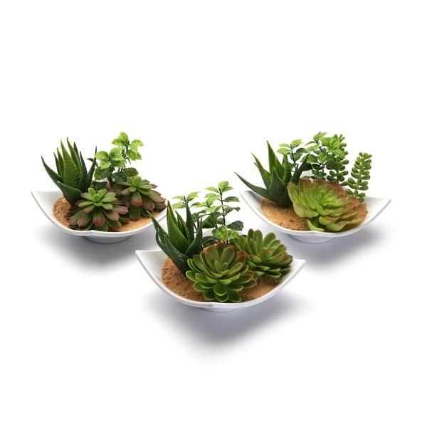 Zestaw 3 sztucznych kwiatków w ceramicznej doniczce Pots