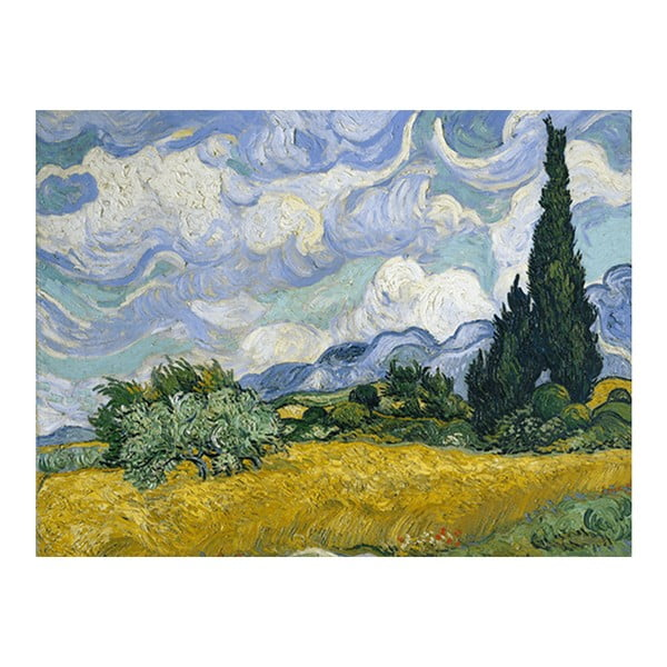 Obraz Vincenta van Gogha - Wheat Field with Cypresses, 70x55 cm