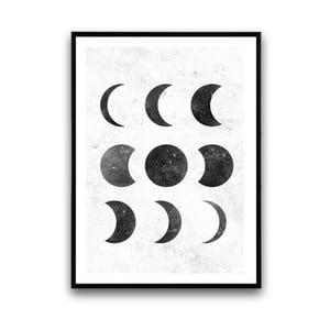 Plakat w drewnianej ramie Moon, 38x28 cm