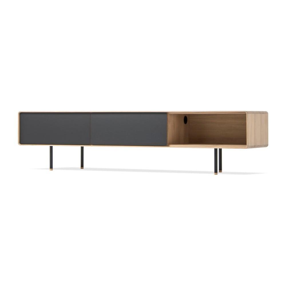 Niska szafka pod TV z drewna dębowego z 2 czarnymi szufladami Gazzda Fina