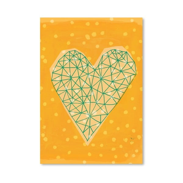 Plakat Geometric Heart in Yellow, 30x42 cm