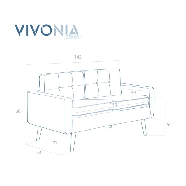 Pastelowo zielona sofa dwuosobowa VIVONITA Ina