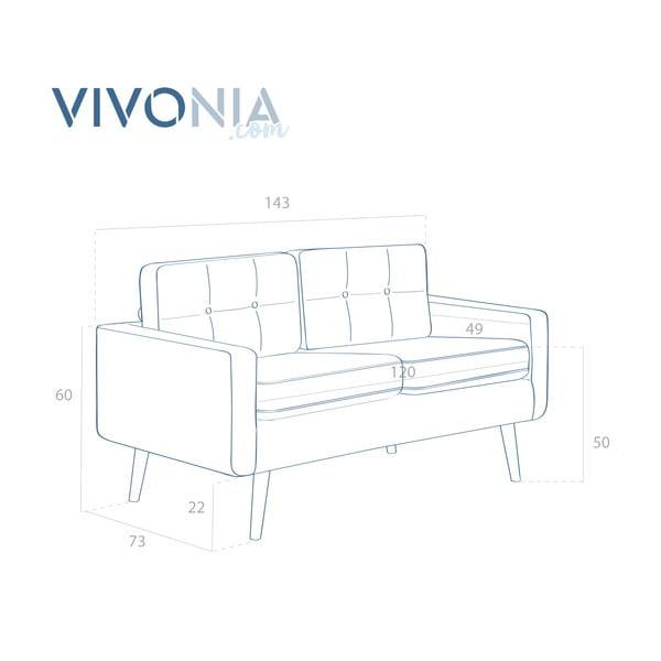 Jasnoszara sofa dwuosobowa VIVONITA Ina