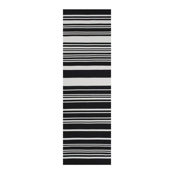 Czarny dywan bawełniany Linie Design Glorious, 80x250 cm