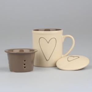 Ręcznie zdobiony beżowy kubek ceramiczny z sitkiem Dakls Heart, 325 ml
