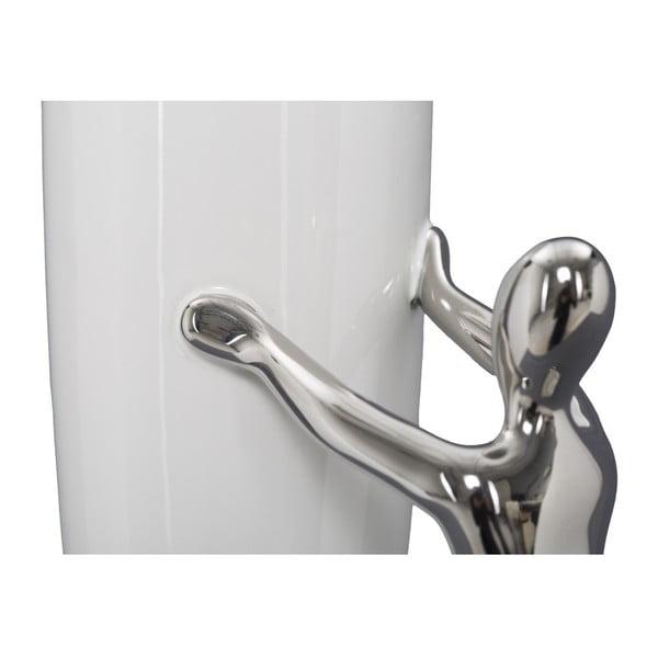 Biało-srebrny wazon ceramiczny Mauro Ferretti Lift