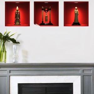 Sada 3 samolepek z efektem 3D Fanastick Chinese Statues