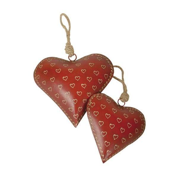 Zestaw 2 wiszących serc Red Chalet