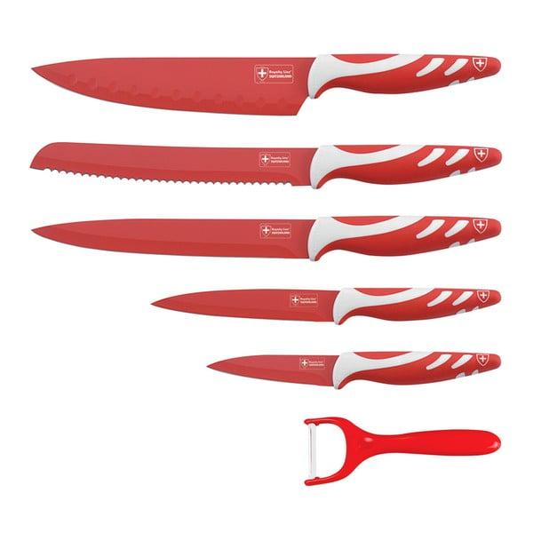 6-częściowy komplet noży Non-stick White Color, czerwony