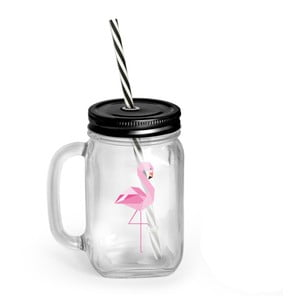Szklanka/słoik   z pokrywką i słomką Vialli Design Mia Natura Flamingo, 450 ml