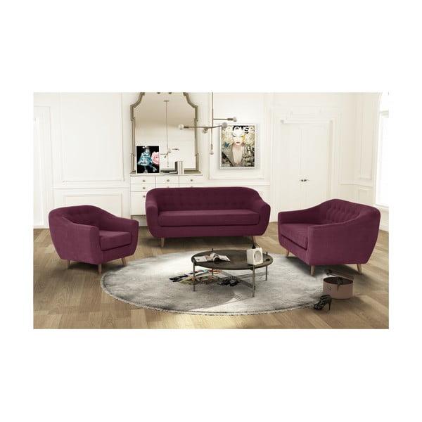 Bordowy zestaw fotela i 2 sof dwuosobowej i trzyosobowej Jalouse Maison Vicky