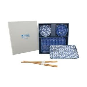 Zestaw talerzy i pałeczek Nippon Blue Geometric dla 2 osób