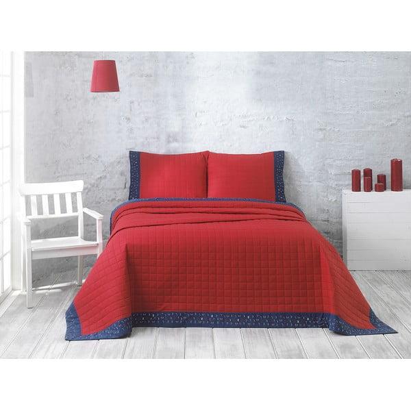 Narzuta z dwiema poszewkami na poduszkę Jolly Red, 240x250 cm