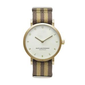 Zegarek unisex z brązowo-beżowym paskiem South Lane Stockholm Sodermalm Gold Stripes