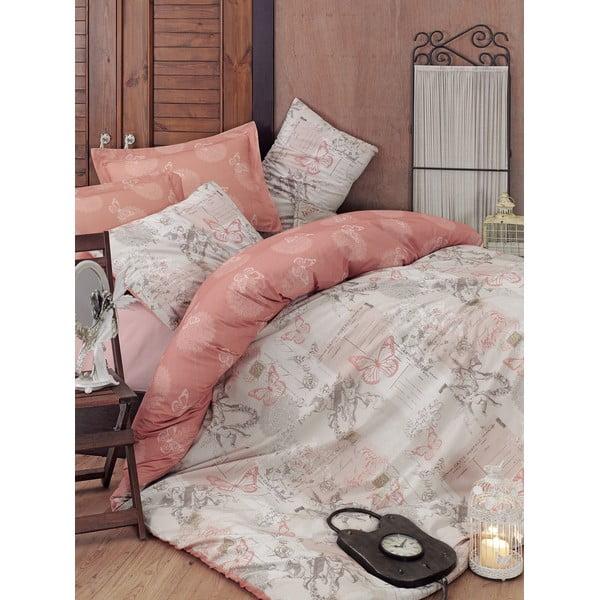 Beżowa pościel z prześcieradłem na łóżko jednoosobowe Love Colors Halen,160 x 220 cm
