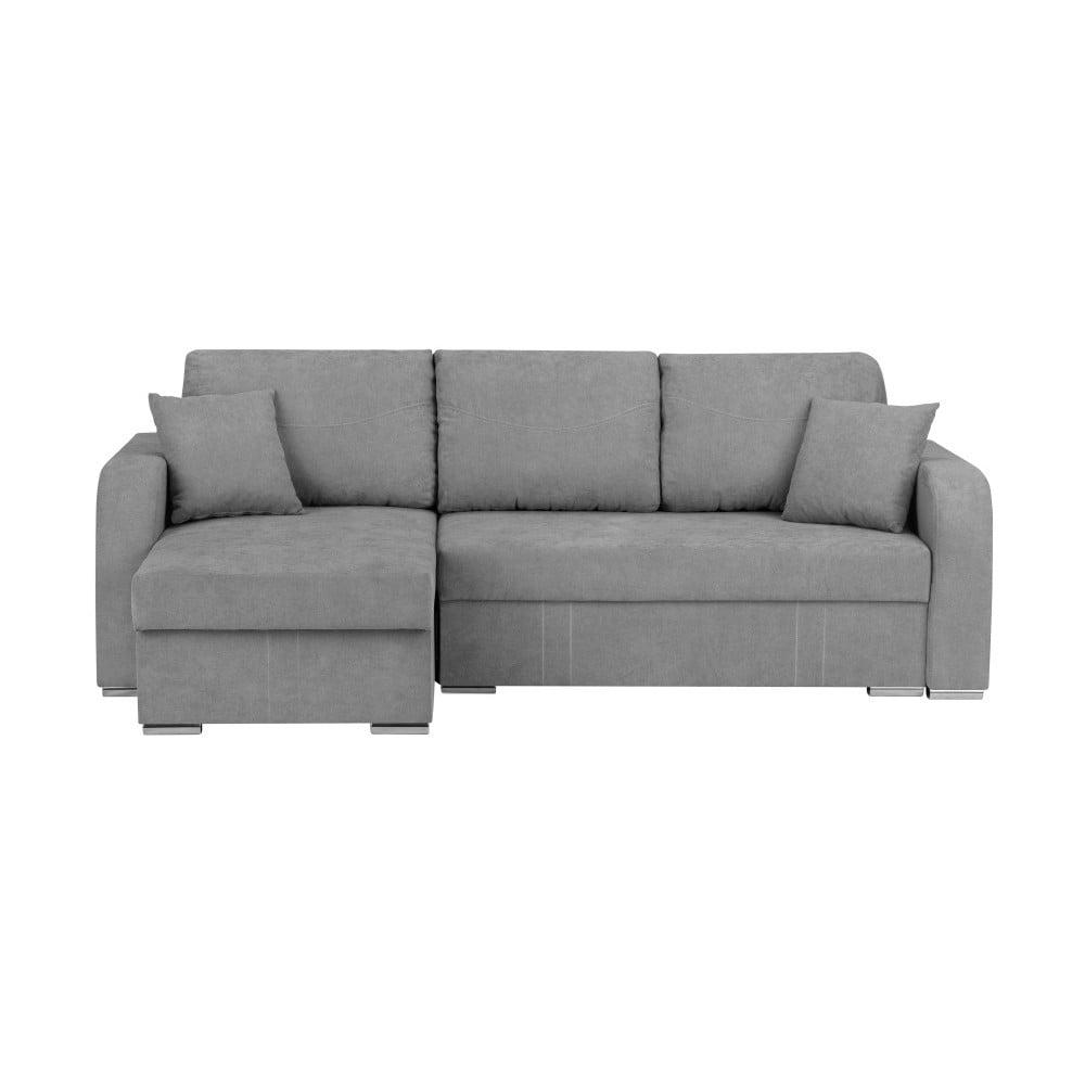 Jasnoszara 3-osobowa narożna rozkładana sofa ze schowkiem Melart Louise