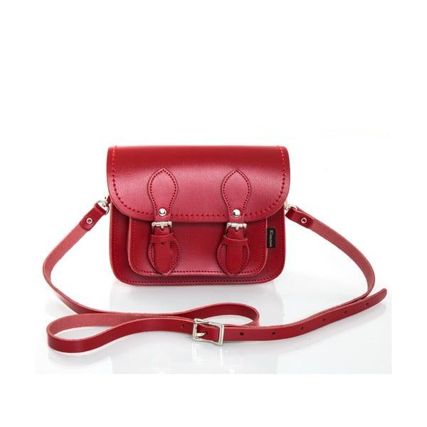 Skórzana torebka Satchel 18 cm, czerwona