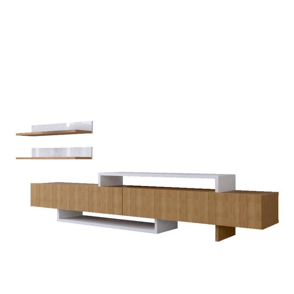 Komplet szafki pod TV i półki z dekorem drewna tekowego Nirvana